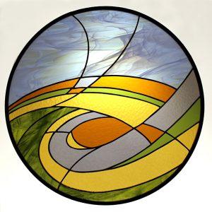 Stained Glass Prairie Scene