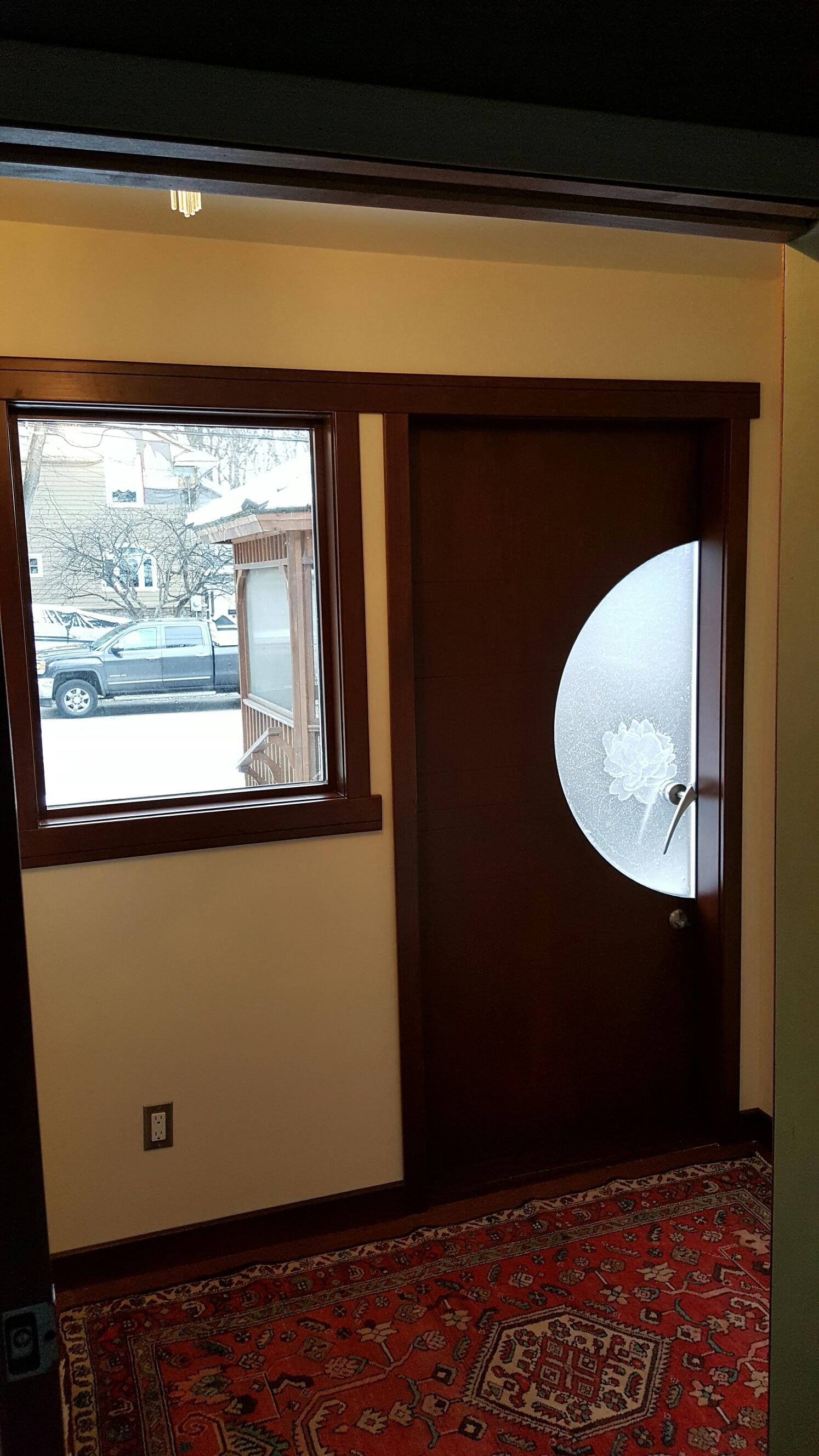 Custom Fused Embossed Glass Door 7 Prairie Studio Glass